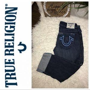 True religion cuffed Capri blue stitch